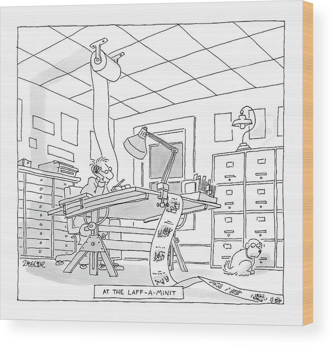 Art Inventions Interiors Word Play  (cartoonist Drawing Cartoons On One Continuous Roll Of Paper.) 122478 Jzi Jack Ziegler Wood Print featuring the drawing At The Laff-a-minit by Jack Ziegler