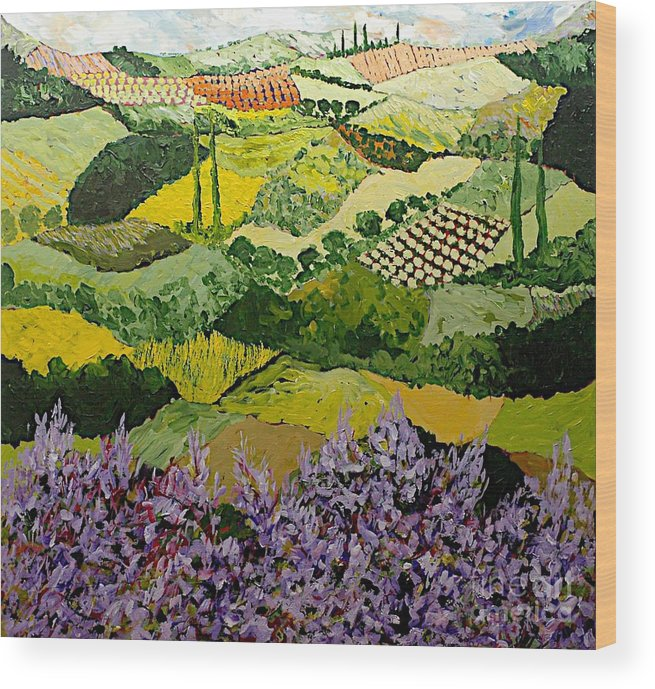 Landscape Wood Print featuring the painting High Ridge by Allan P Friedlander
