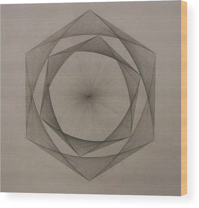 Fractal Wood Print featuring the drawing Solar Spiraling by Jason Padgett
