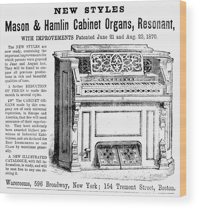 1870 Wood Print featuring the photograph Organ Ad, 1870 by Granger