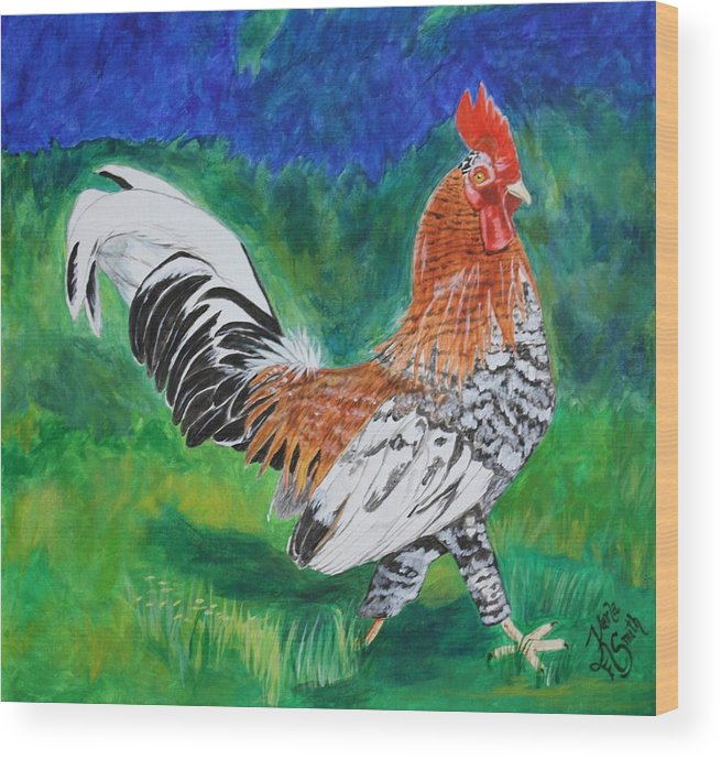 Rooster Wood Print featuring the painting Rooster Cogburn by Karla PetersonSmith