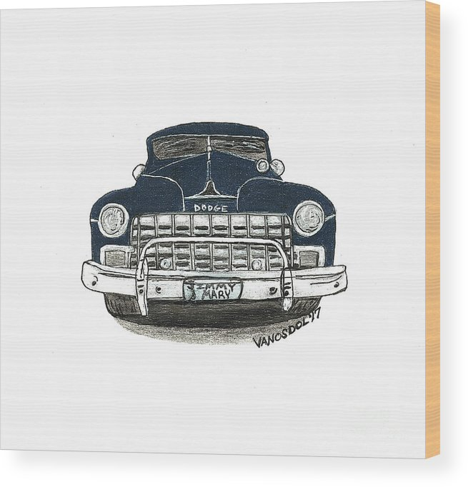 1947 Wood Print featuring the drawing 1947 Dodge Club Coupe - Navy Blue - Front View by Scott D Van Osdol