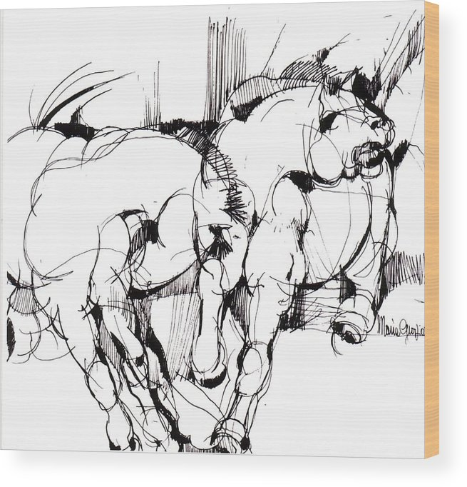 Horse Wood Print featuring the drawing Horses by Maria Grazia Repetto