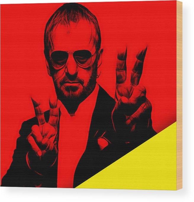 Ringo Starr Wood Print featuring the mixed media Ringo Starr Collection by Marvin Blaine