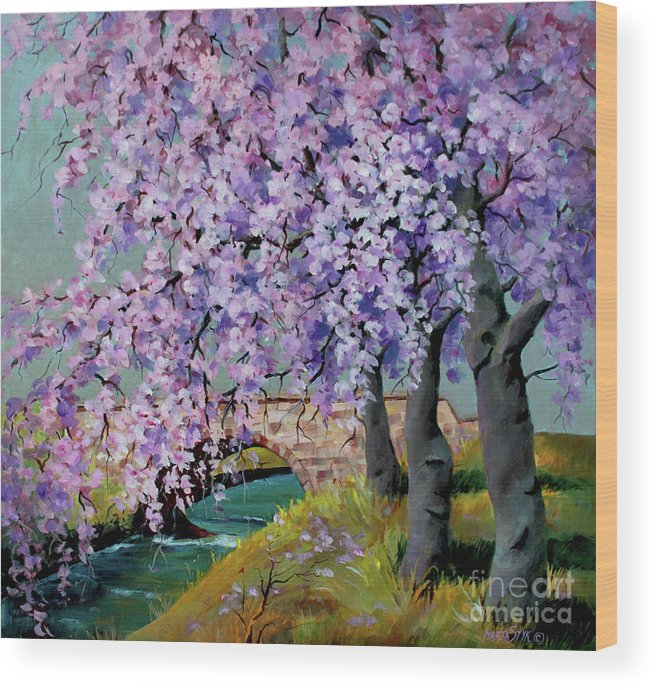 Landscape Wood Print featuring the painting Cherry Blossoms by Marta Styk