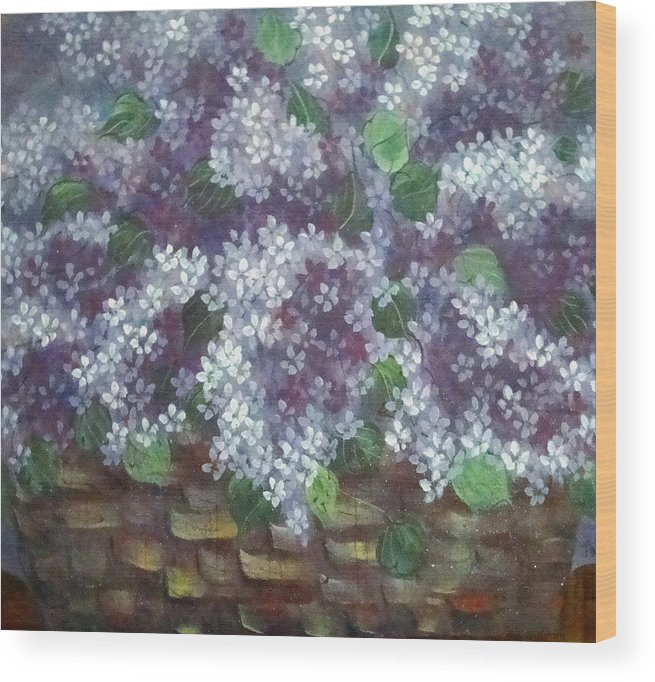 Perfumed Lilacs Greeting Cards Wood Print featuring the painting Delicate Perfumed Lilacs by Natalie Holland