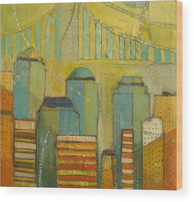 Wood Print featuring the painting Downtown Manhattan by Habib Ayat