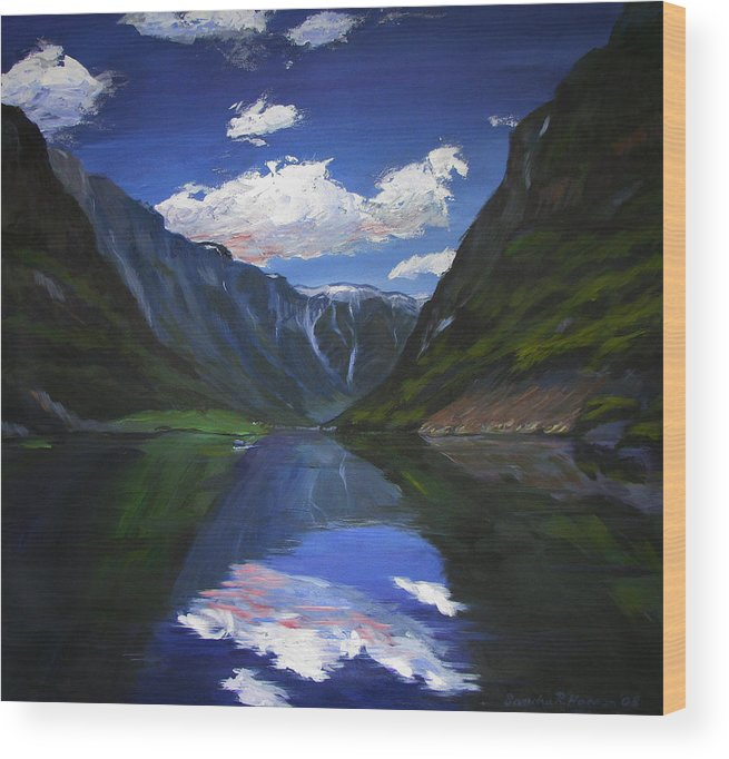 Landscape Wood Print featuring the painting Majestic Fjords by Art Nomad Sandra Hansen