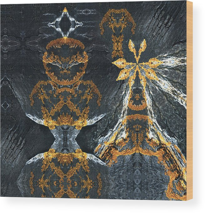 Rocks Wood Print featuring the digital art Rock Gods Lichen Lady And Lords by Nancy Griswold