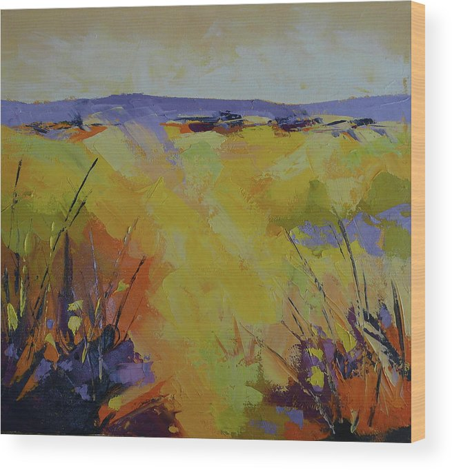 Landscape Wood Print featuring the painting Spring Karoo by Yvonne Ankerman