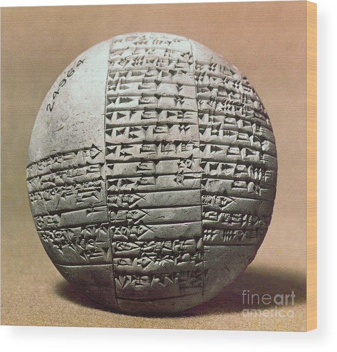1980 B.c. Wood Print featuring the photograph Sumerian Cuneiform by Granger