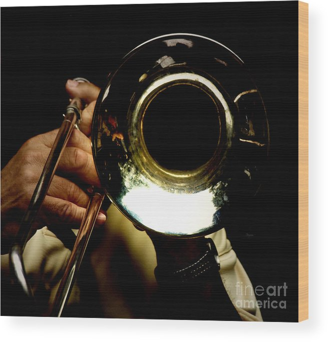 Trombone Wood Print featuring the photograph The Trombone  by Steven Digman