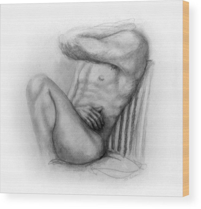 Man Wood Print featuring the drawing Torso Chris I by John Clum