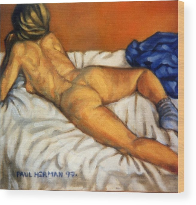 Nude Wood Print featuring the painting Watching Television by Paul Herman