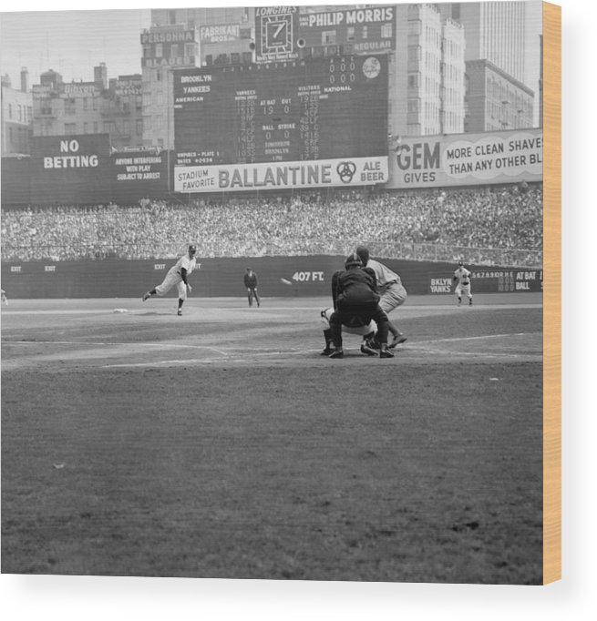 American League Baseball Wood Print featuring the photograph Allie Reynolds Of The Yankees At The by New York Daily News Archive