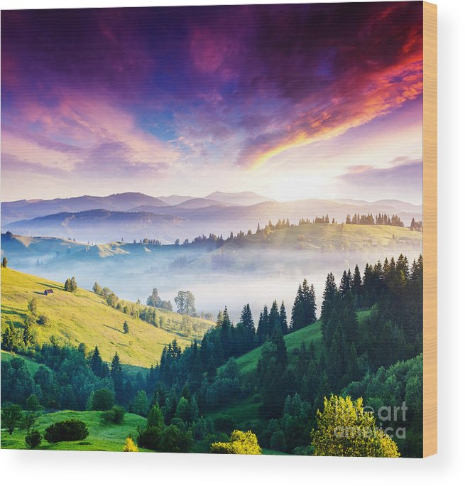 Magic Wood Print featuring the photograph Majestic Mountain Landscape With by Creative Travel Projects