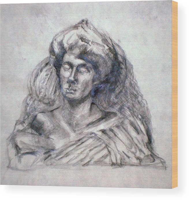 Woman Wood Print featuring the drawing Miss Eve 2 by Karen Coggeshall