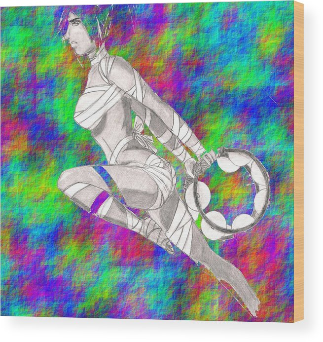 Pencil Wood Print featuring the digital art Tambourine Fighter by Nicole DePreker