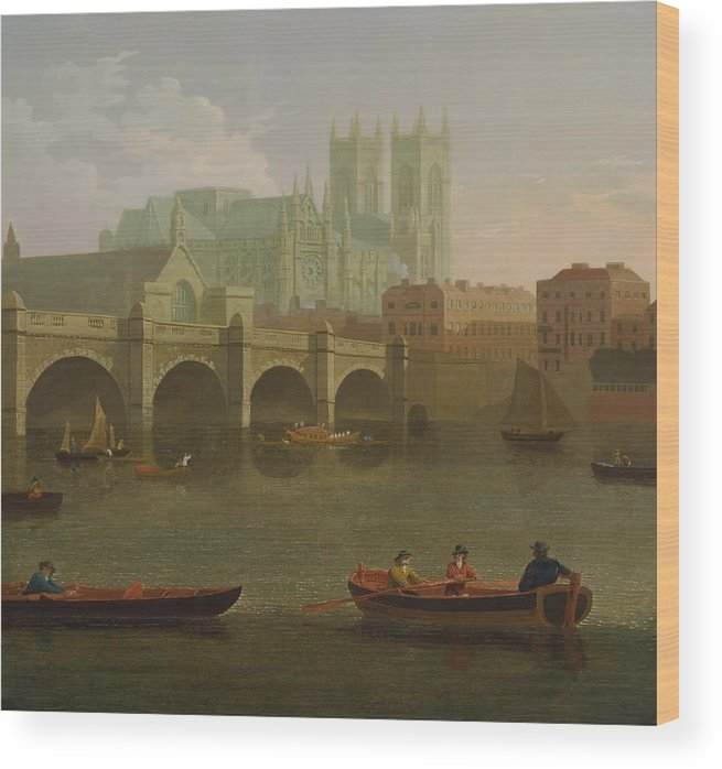 Joseph Farington (1747-1821)-'westminster Abbey And Bridge'-oil On Canvas-1794 Wood Print featuring the painting Westminster Abbey And Bridge by Joseph Farington