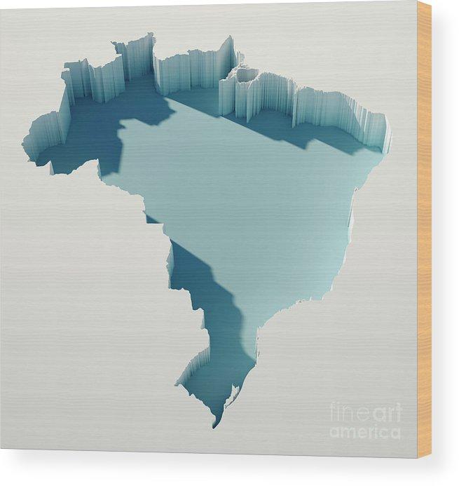 Cartography Wood Print featuring the digital art Brazil Simple Intrusion Map 3d Render by Frank Ramspott
