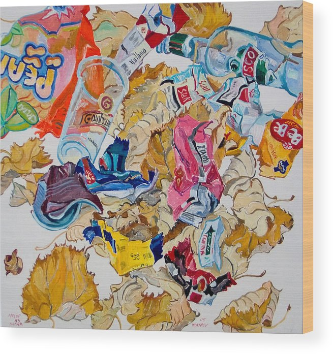 Leaf Wood Print featuring the painting Leaves And Rubbish by Vitali Komarov