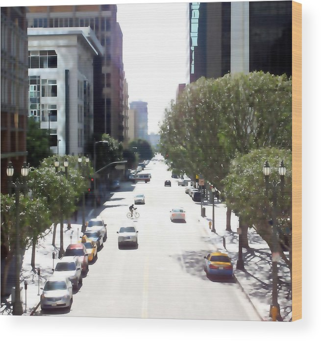 Cityscape Wood Print featuring the photograph Los Angeles 0591 by Edward Ruth