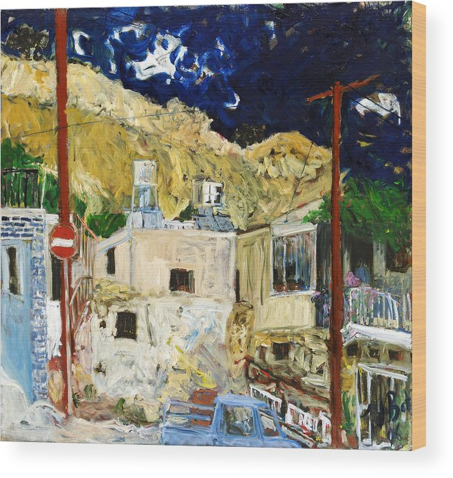 Village Houses Traffic Sign Telephone Cables Van Mountain Dark Sky Wood Print featuring the painting Pissouri Village by Joan De Bot