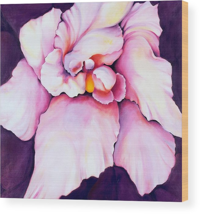 Orcdhid Bloom Artwork Wood Print featuring the painting The Orchid by Jordana Sands