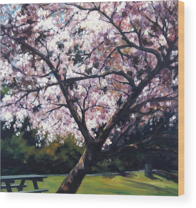 Spring Wood Print featuring the painting The Picnic Table by Rick Nederlof