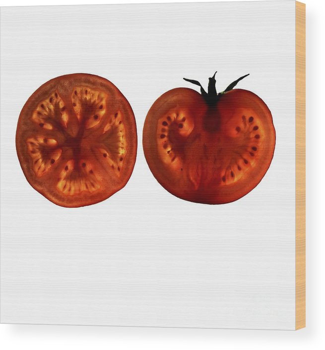 Solanum Lycopersicum Wood Print featuring the photograph Tomato Slices by Thomas Fester