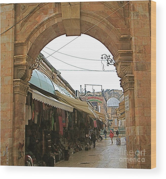 Jerusalem. Old Archway. Israel. Wood Print featuring the photograph Jerusalem Old Archway Israel by Robert Birkenes
