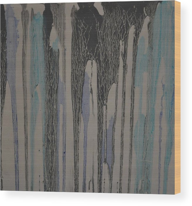 Blue Wood Print featuring the painting Spill by Natan Kessler