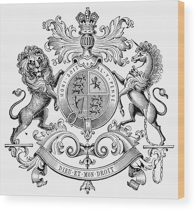19th Century Wood Print featuring the photograph Coat Of Arms: Great Britain by Granger