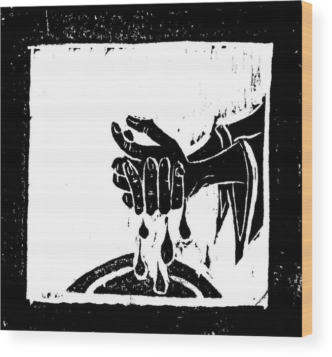 Pilate Wood Print featuring the mixed media Pilate Washes His Hands by Lars Lindgren