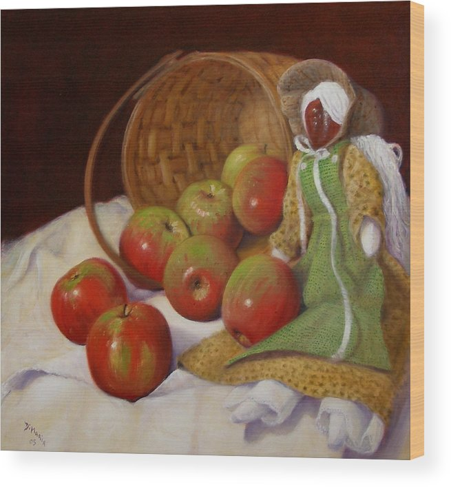 Realism Wood Print featuring the painting Apple Annie by Donelli DiMaria
