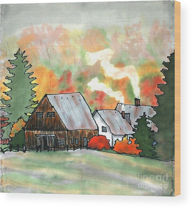 Vermont Wood Print featuring the painting Autumn Chill Silk Painting by Linda Marcille
