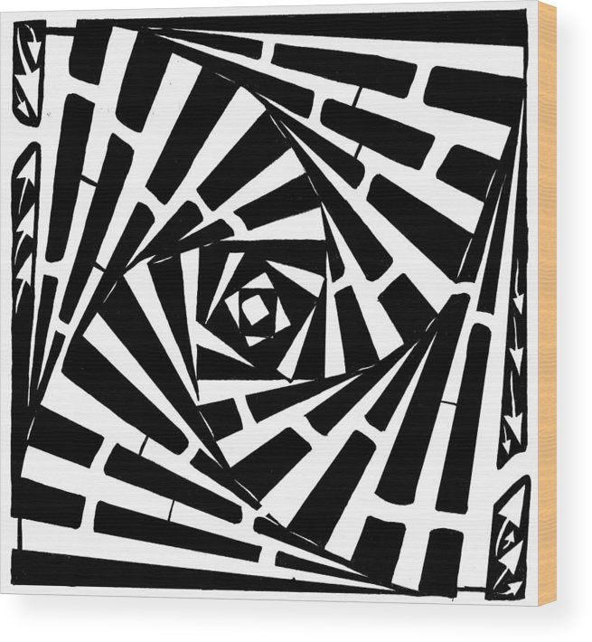Box Wood Print featuring the drawing Box In A Box Maze by Yonatan Frimer Maze Artist
