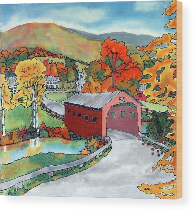 Silk Painting Wood Print featuring the painting Bridge At The Green by Linda Marcille