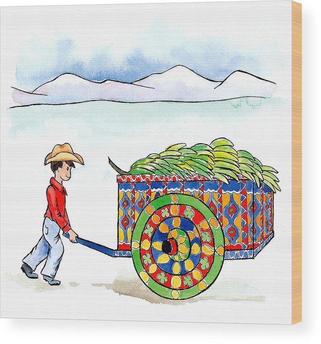 Fruit Wood Print featuring the mixed media Costa Rican Banana Cart by Leah Wiedemer
