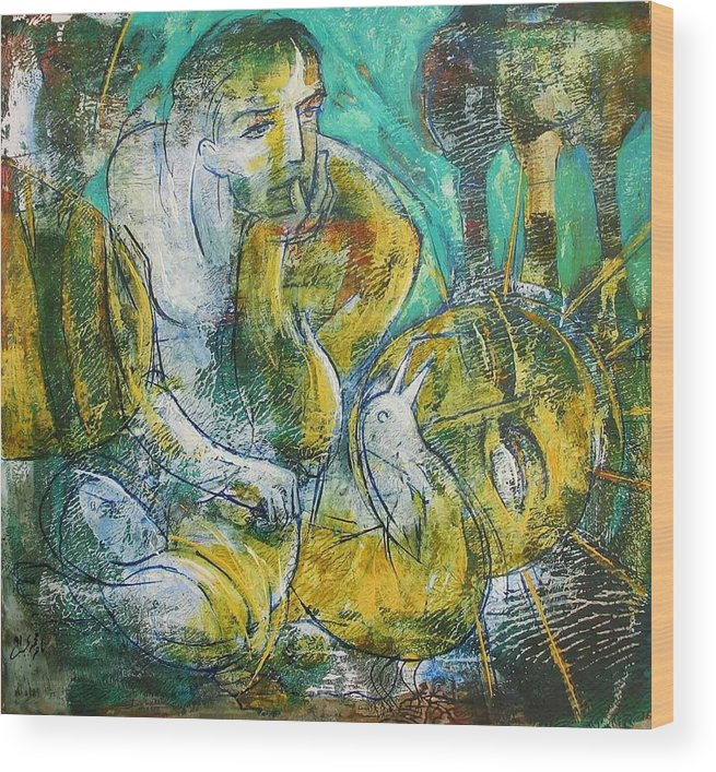 Fantasy Wood Print featuring the painting Fantasy by Naser Mohammadi