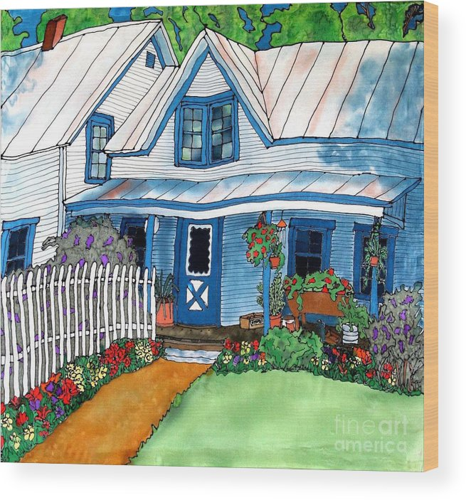 Church Wood Print featuring the painting House Fence And Flowers by Linda Marcille