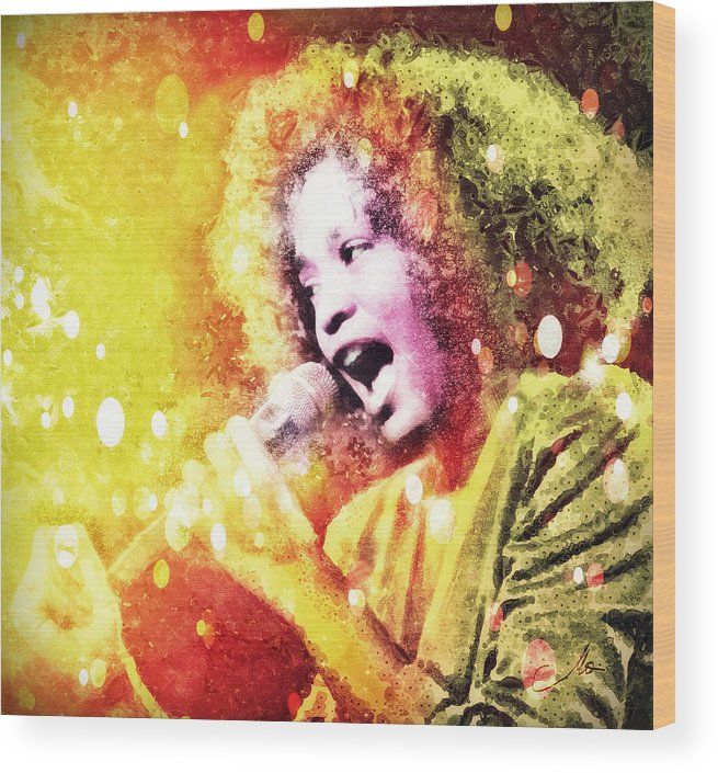 Whitney Houston Wood Print featuring the digital art I Will Always Love You by Mo T