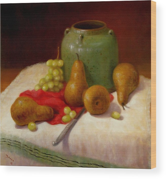 Realism Wood Print featuring the painting Pears And Grapes by Donelli DiMaria