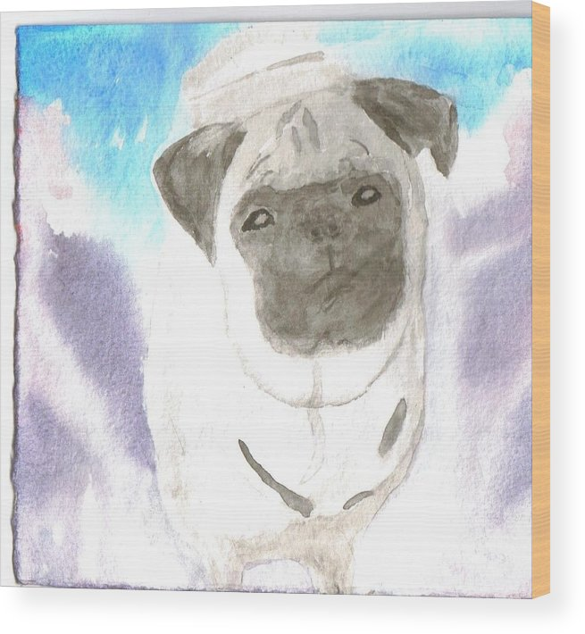 Pug Dog Watercolor Wood Print featuring the painting Pug by Warren Thompson