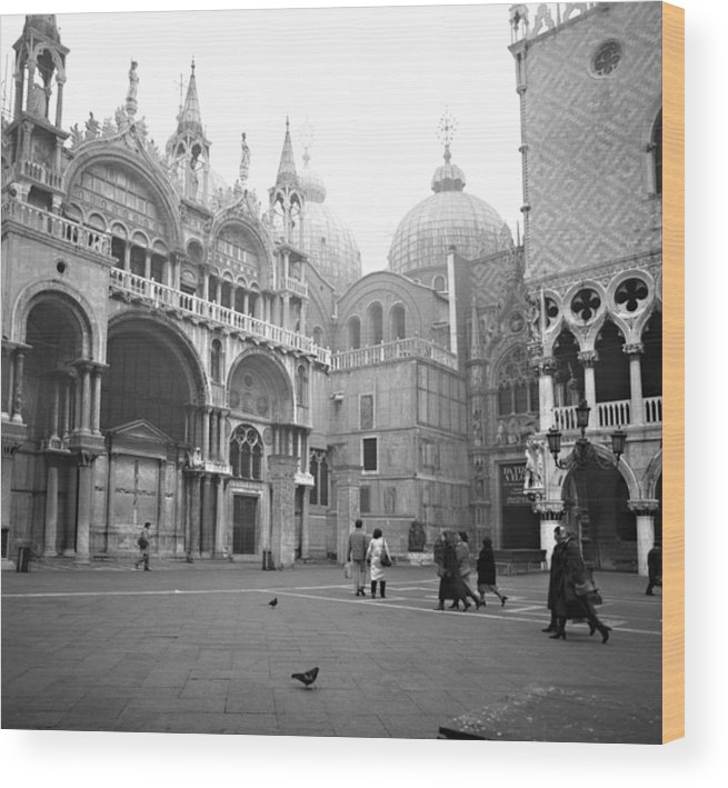 Ancient Wood Print featuring the photograph San Marco Piazza And Basilica In Venice by Emanuel Tanjala