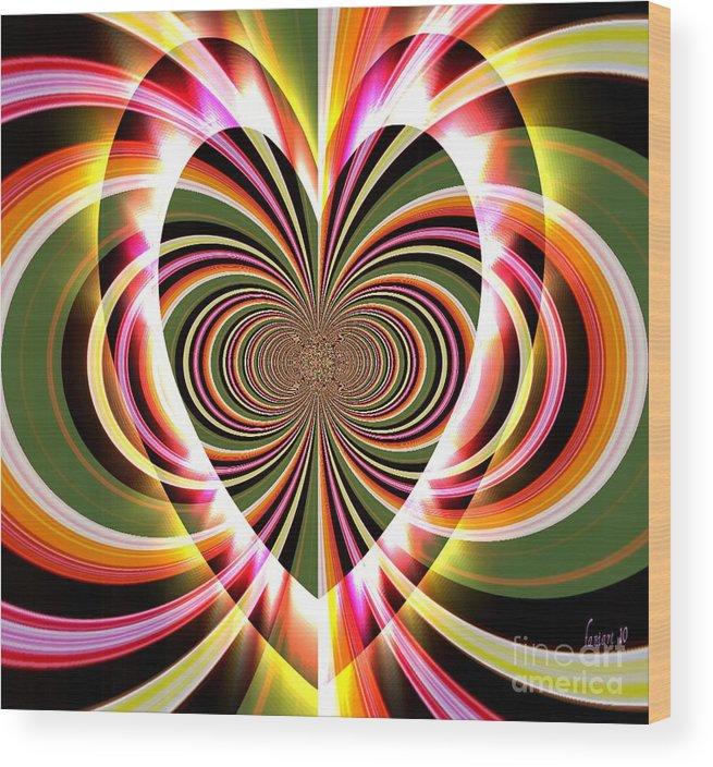 Fania Simon Wood Print featuring the digital art Supportive Heart by Fania Simon