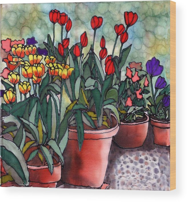 Silk Wood Print featuring the painting Tulips In Clay Pots by Linda Marcille