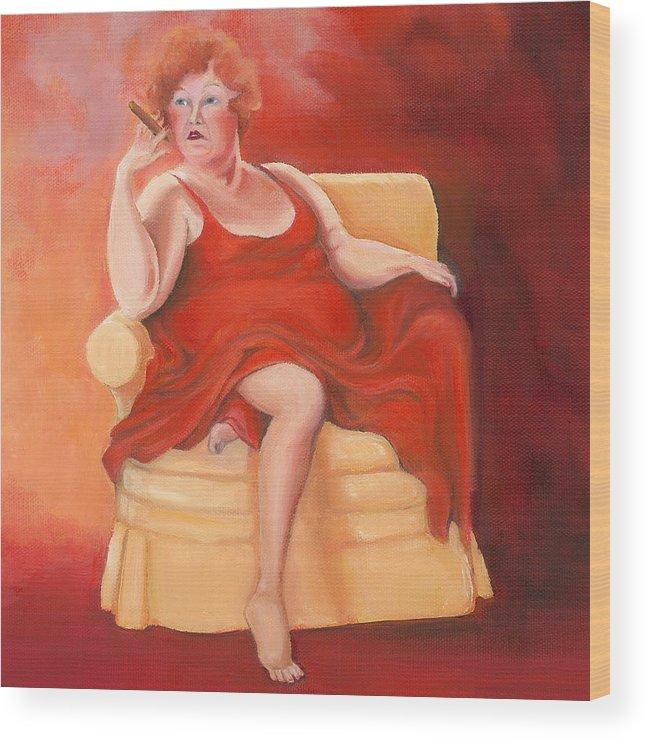 Lady In Red Wood Print featuring the painting Whatever Happened To The Dreams by Irene Corey