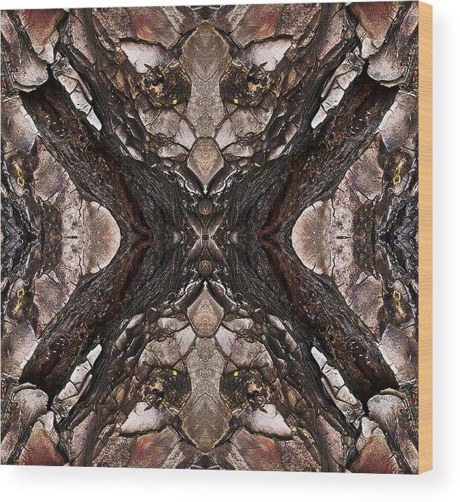 Tree Bark Art Wood Print featuring the photograph Alien - Tree Bark Art Abstraction by Ruth Valasini