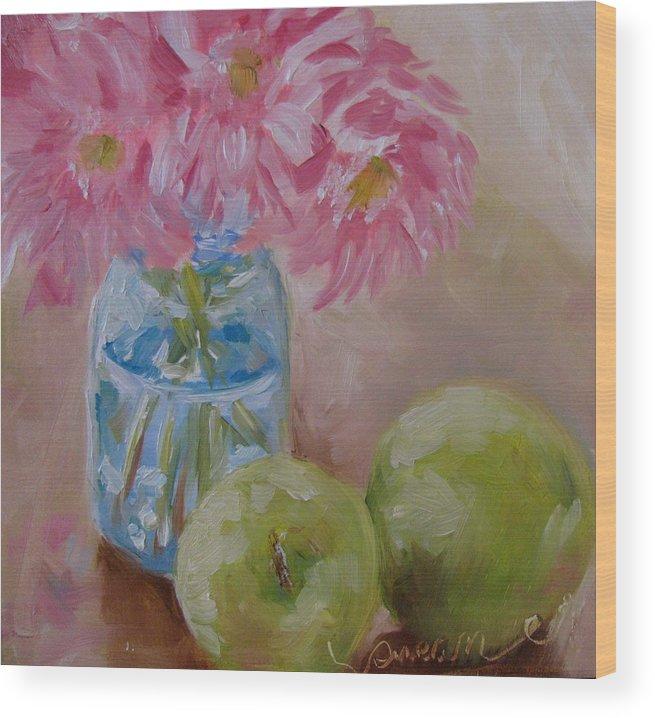 Apple Wood Print featuring the painting Apple Still Life by Susan Elizabeth Jones